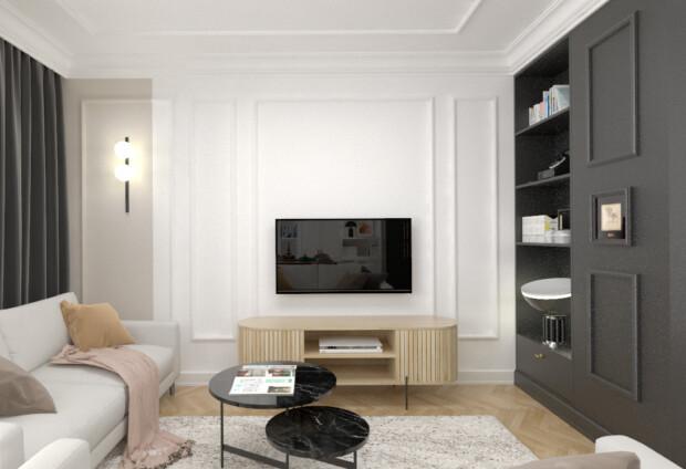 Projekt spokojnego salonu inspirowany klasycznymi wnętrzami, w którym nie brakuje klasyków designu.